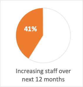 Pie chart: 41% increasing staff over next 12 months
